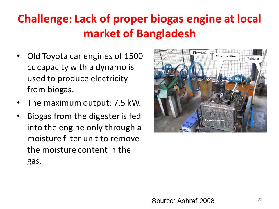Challenge: Lack of proper biogas engine at local market of Bangladesh Old Toyota car engines of 1500 cc capacity with a dynamo is used to produce elec