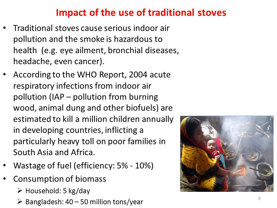 Impact of the use of traditional stoves Traditional stoves cause serious indoor air pollution and the smoke is hazardous to health (e.g. eye ailment,