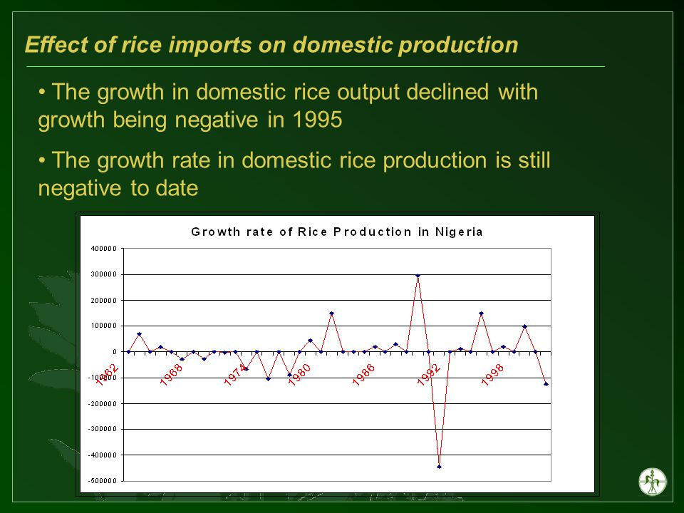 Effect of rice imports on domestic production The growth in domestic rice output declined with growth being negative in 1995 The growth rate in domestic rice production is still negative to date