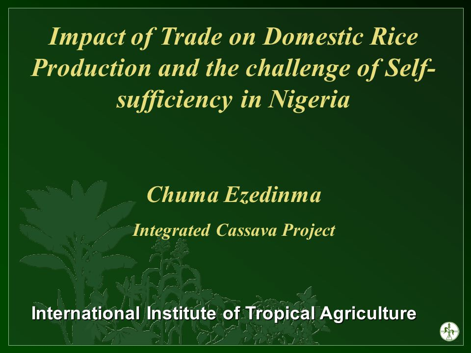 Impact of Trade on Domestic Rice Production and the challenge of Self- sufficiency in Nigeria Chuma Ezedinma Integrated Cassava Project International