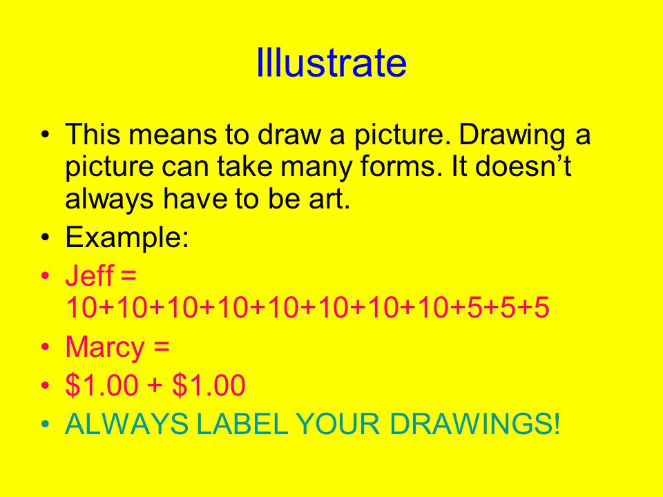 Illustrate This means to draw a picture.Drawing a picture can take many forms.