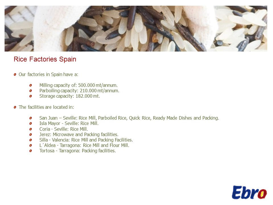 Rice Factories Spain Our factories in Spain have a: Milling capacity of: 500.000 mt/annum.
