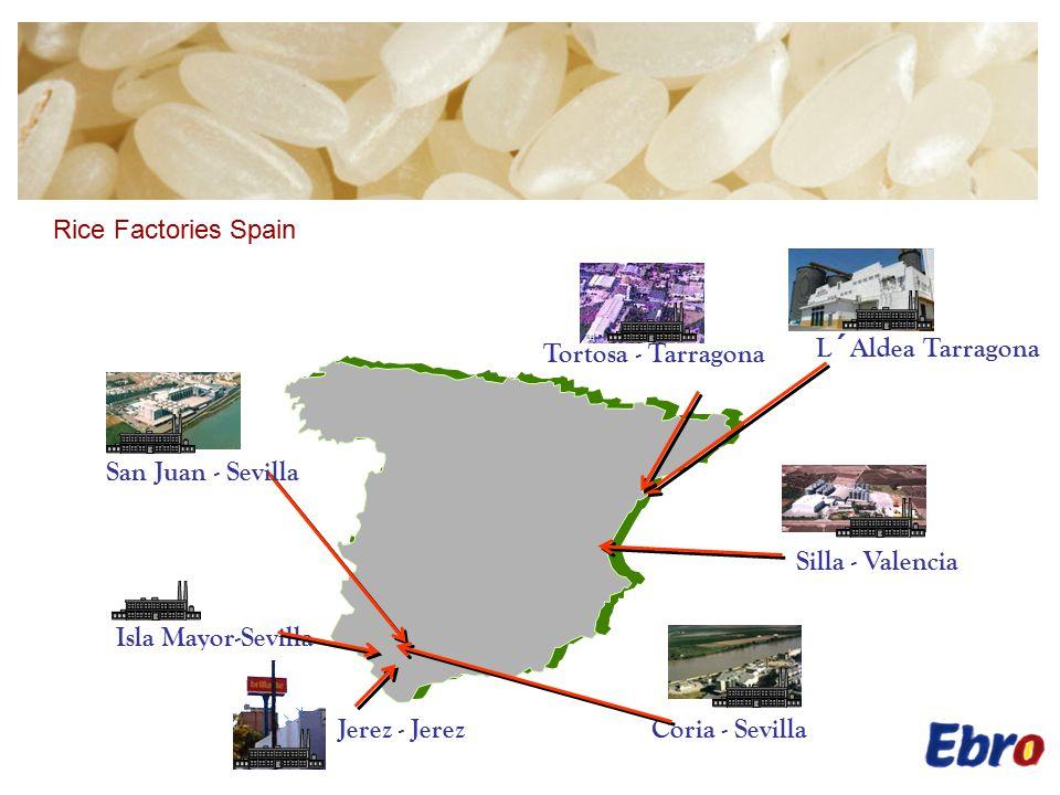 L´Aldea Tarragona Coria - Sevilla Tortosa - Tarragona Isla Mayor-Sevilla Silla - Valencia San Juan - Sevilla Jerez - Jerez Rice Factories Spain