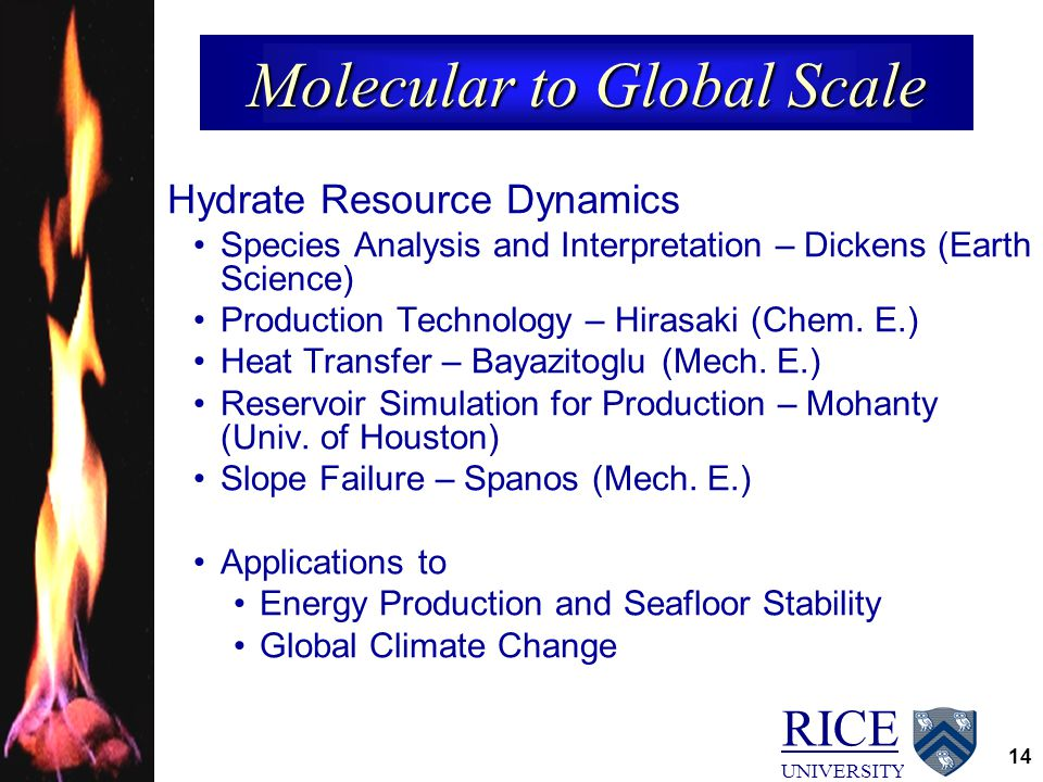 RICE UNIVERSITY 14 Molecular to Global Scale Hydrate Resource Dynamics Species Analysis and Interpretation – Dickens (Earth Science) Production Techno