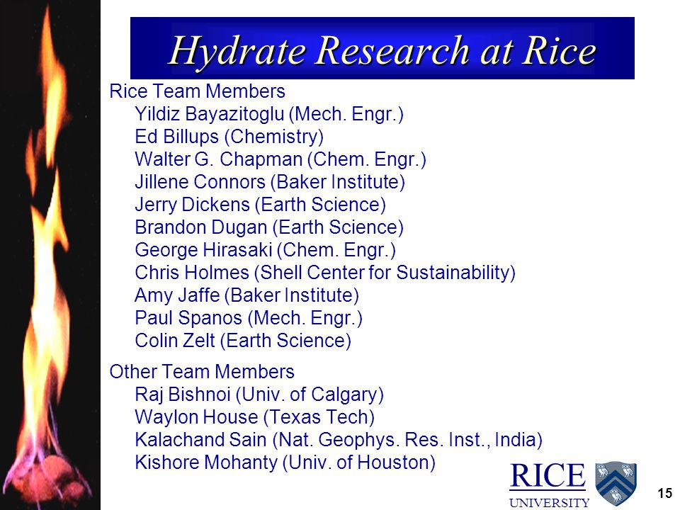 RICE UNIVERSITY 15 Hydrate Research at Rice Rice Team Members Yildiz Bayazitoglu (Mech. Engr.) Ed Billups (Chemistry) Walter G. Chapman (Chem. Engr.)