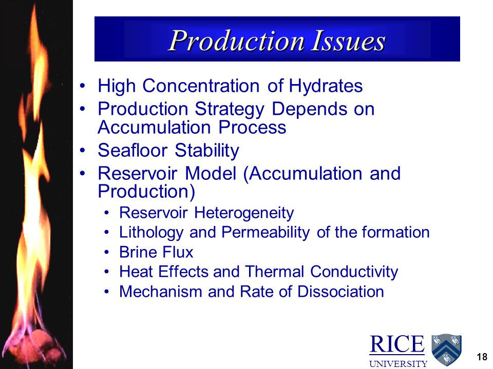 RICE UNIVERSITY 18 Production Issues High Concentration of Hydrates Production Strategy Depends on Accumulation Process Seafloor Stability Reservoir Model (Accumulation and Production) Reservoir Heterogeneity Lithology and Permeability of the formation Brine Flux Heat Effects and Thermal Conductivity Mechanism and Rate of Dissociation