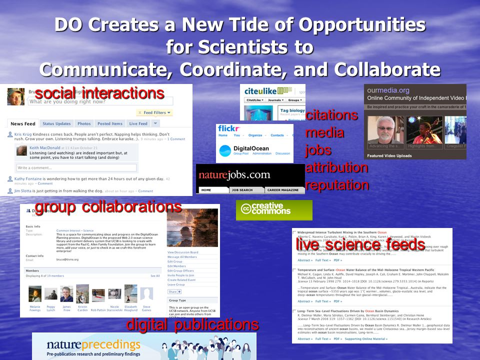 DO Creates a New Tide of Opportunities for Scientists to Communicate, Coordinate, and Collaborate social interactions group collaborations digital publications live science feeds citationsmediajobsattributionreputation