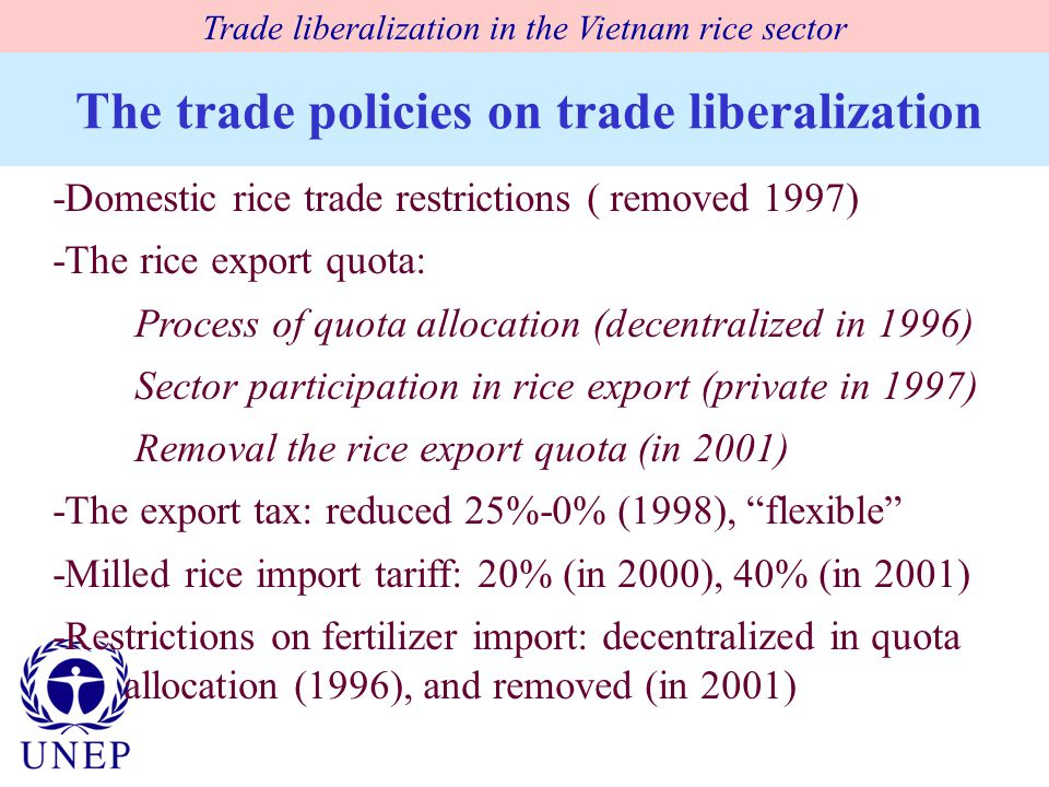The trade policies on trade liberalization -Domestic rice trade restrictions ( removed 1997) -The rice export quota: Process of quota allocation (decentralized in 1996) Sector participation in rice export (private in 1997) Removal the rice export quota (in 2001) -The export tax: reduced 25%-0% (1998), flexible -Milled rice import tariff: 20% (in 2000), 40% (in 2001) -Restrictions on fertilizer import: decentralized in quota allocation (1996), and removed (in 2001) Trade liberalization in the Vietnam rice sector