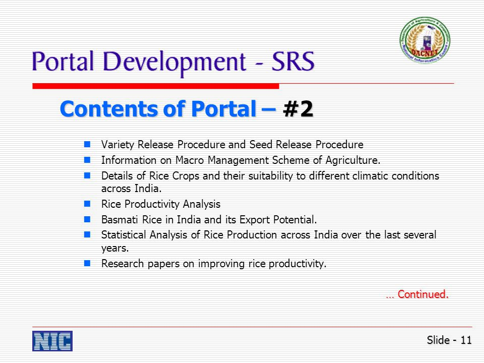 Contents of Portal – #2 Variety Release Procedure and Seed Release Procedure Information on Macro Management Scheme of Agriculture.