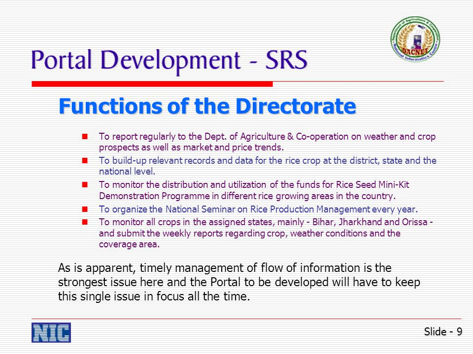 Contents of Portal – #1 Brief introduction of Directorate of Rice Development.