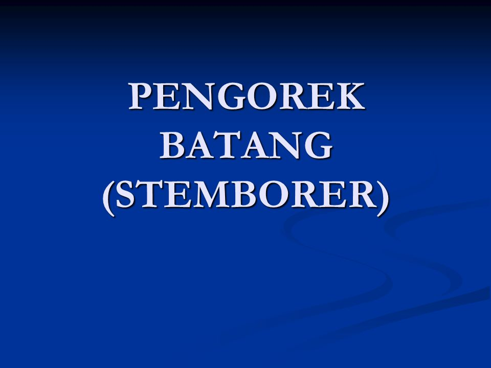 PENGOREK BATANG (STEMBORER)