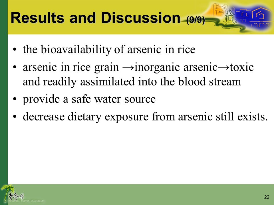 22 Results and Discussion (9/9) the bioavailability of arsenic in rice arsenic in rice grain →inorganic arsenic→toxic and readily assimilated into the blood stream provide a safe water source decrease dietary exposure from arsenic still exists.