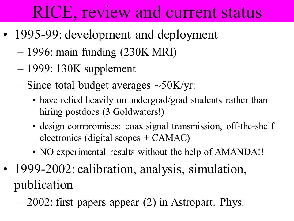 RICE, review and current status 1995-99: development and deployment –1996: main funding (230K MRI) –1999: 130K supplement –Since total budget averages