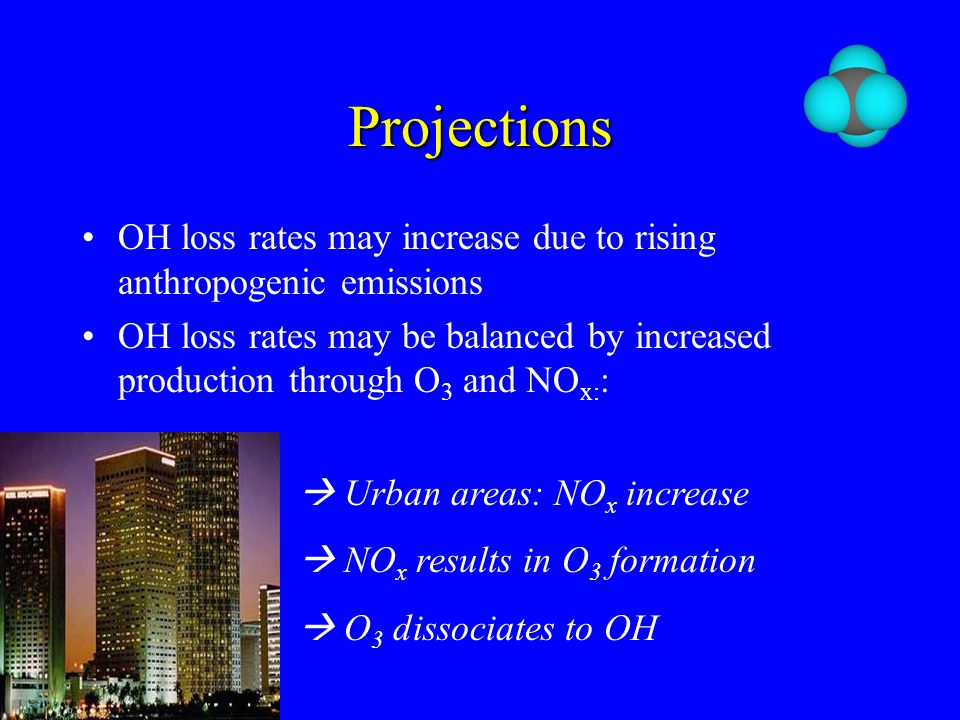 Projections OH loss rates may increase due to rising anthropogenic emissions OH loss rates may be balanced by increased production through O 3 and NO x: :  Urban areas: NO x increase  NO x results in O 3 formation  O 3 dissociates to OH