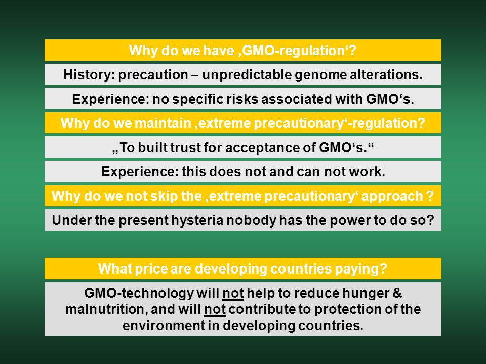 Why do we have 'GMO-regulation'? History: precaution – unpredictable genome alterations. Experience: no specific risks associated with GMO's. Why do w