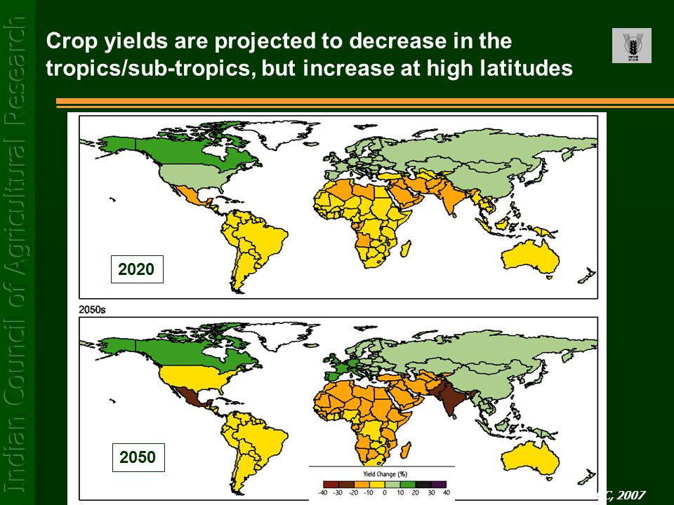 Crop yields are projected to decrease in the tropics/sub-tropics, but increase at high latitudes Source: IPCC, 2007 2020 2050