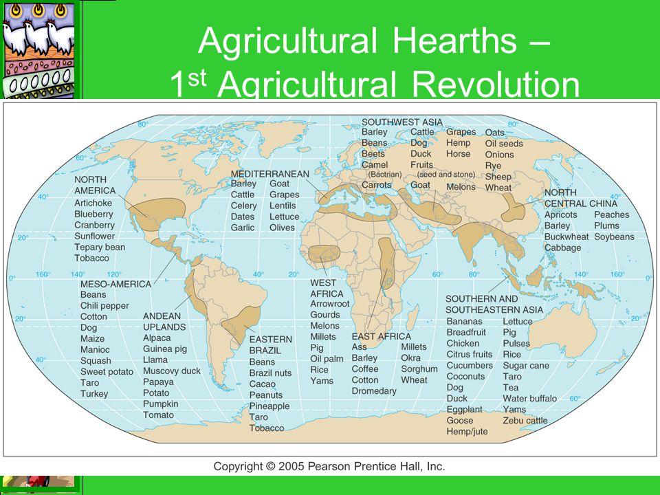 Agricultural Hearths – 1 st Agricultural Revolution