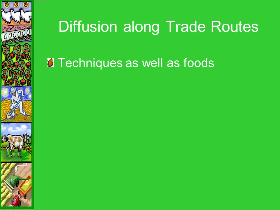 Diffusion along Trade Routes Techniques as well as foods