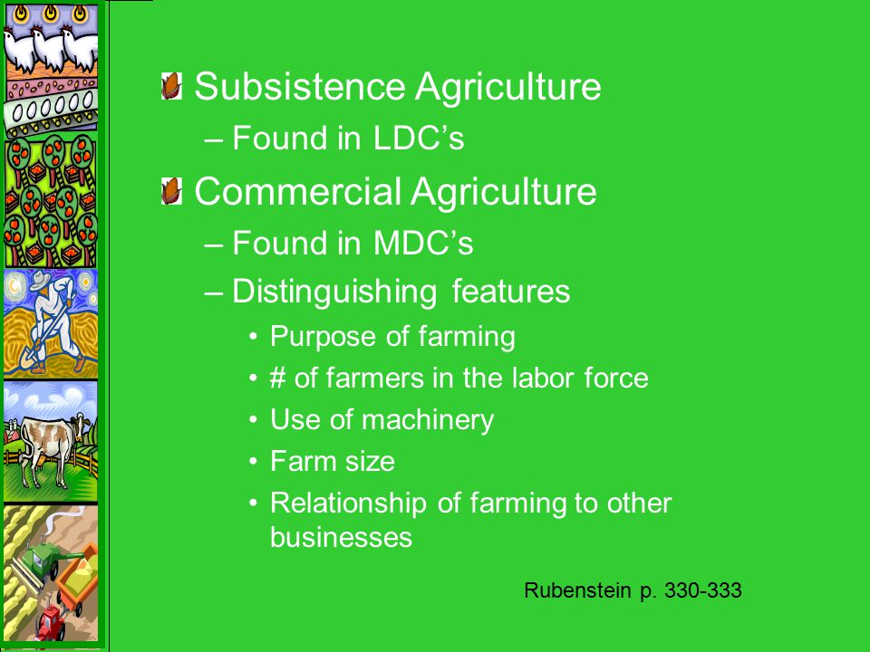 Subsistence Agriculture –Found in LDC's Commercial Agriculture –Found in MDC's –Distinguishing features Purpose of farming # of farmers in the labor force Use of machinery Farm size Relationship of farming to other businesses Rubenstein p.