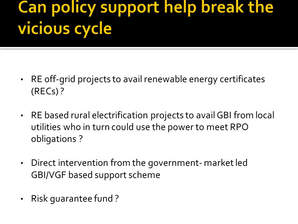RE off-grid projects to avail renewable energy certificates (RECs) .