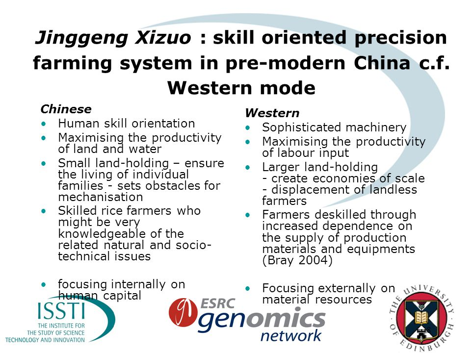 8 Jinggeng Xizuo : skill oriented precision farming system in pre-modern China c.f.
