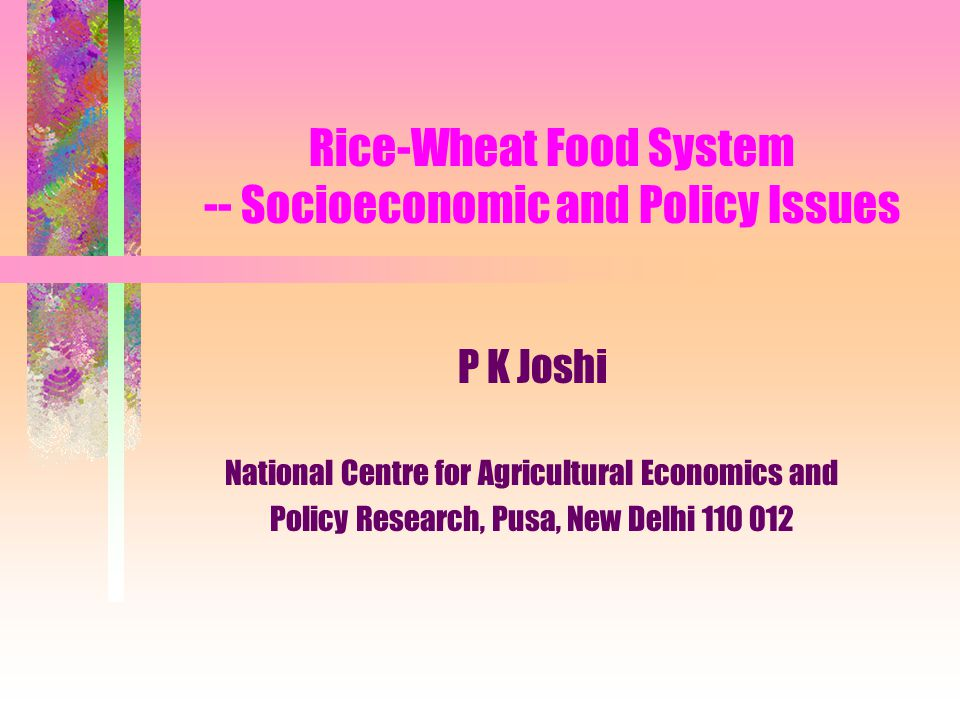 Rice-Wheat Food System -- Socioeconomic and Policy Issues P K Joshi National Centre for Agricultural Economics and Policy Research, Pusa, New Delhi 11
