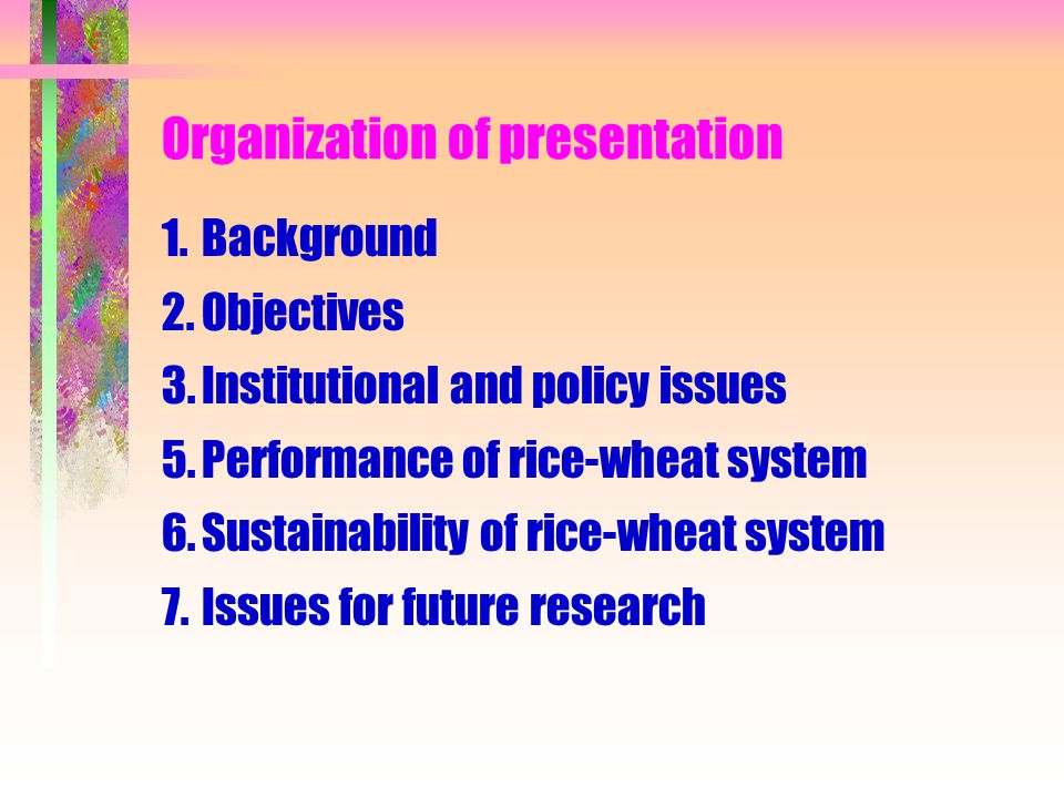 Organization of presentation 1.Background 2.Objectives 3.Institutional and policy issues 5.Performance of rice-wheat system 6.Sustainability of rice-w