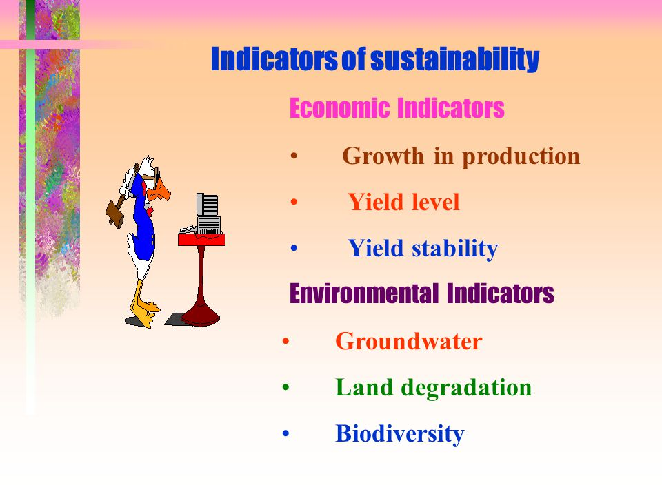 Indicators of sustainability Economic Indicators Growth in production Yield level Yield stability Environmental Indicators Groundwater Land degradatio