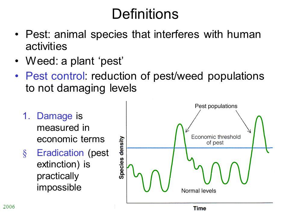 2006 自然科学の英語 -ENS-L7 Definitions Pest: animal species that interferes with human activities Weed: a plant 'pest' Pest control: reduction of pest/weed