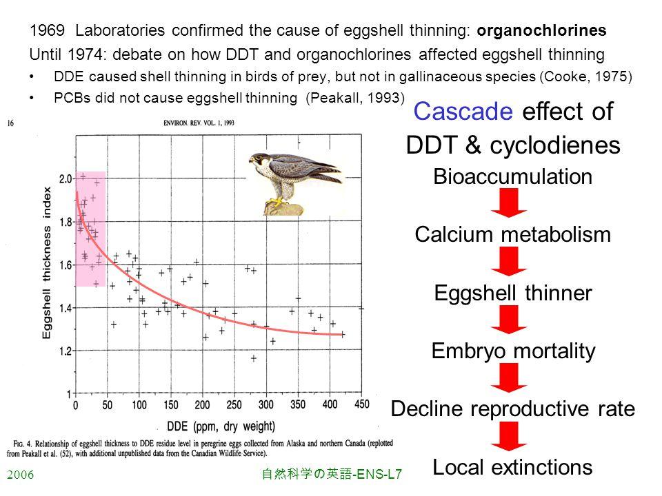 2006 自然科学の英語 -ENS-L7 1969 Laboratories confirmed the cause of eggshell thinning: organochlorines Until 1974: debate on how DDT and organochlorines affected eggshell thinning DDE caused shell thinning in birds of prey, but not in gallinaceous species (Cooke, 1975) PCBs did not cause eggshell thinning (Peakall, 1993) Cascade effect of DDT & cyclodienes Bioaccumulation Calcium metabolism Eggshell thinner Embryo mortality Decline reproductive rate Local extinctions