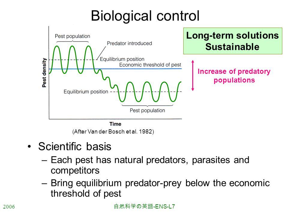 2006 自然科学の英語 -ENS-L7 (After Van der Bosch et al. 1982) Biological control Scientific basis –Each pest has natural predators, parasites and competitors