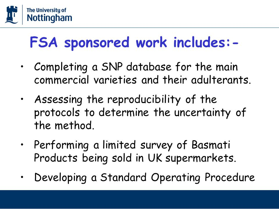 Completing a SNP database for the main commercial varieties and their adulterants.