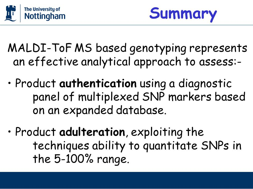 MALDI-ToF MS based genotyping represents an effective analytical approach to assess:- Product authentication using a diagnostic panel of multiplexed SNP markers based on an expanded database.