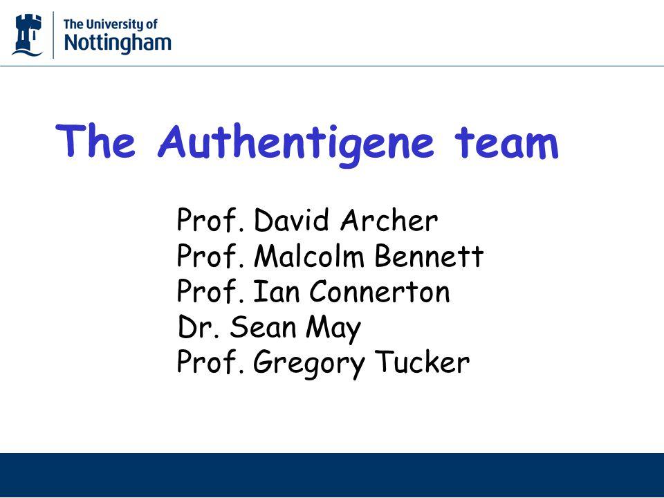 The Authentigene team Prof. David Archer Prof. Malcolm Bennett Prof.