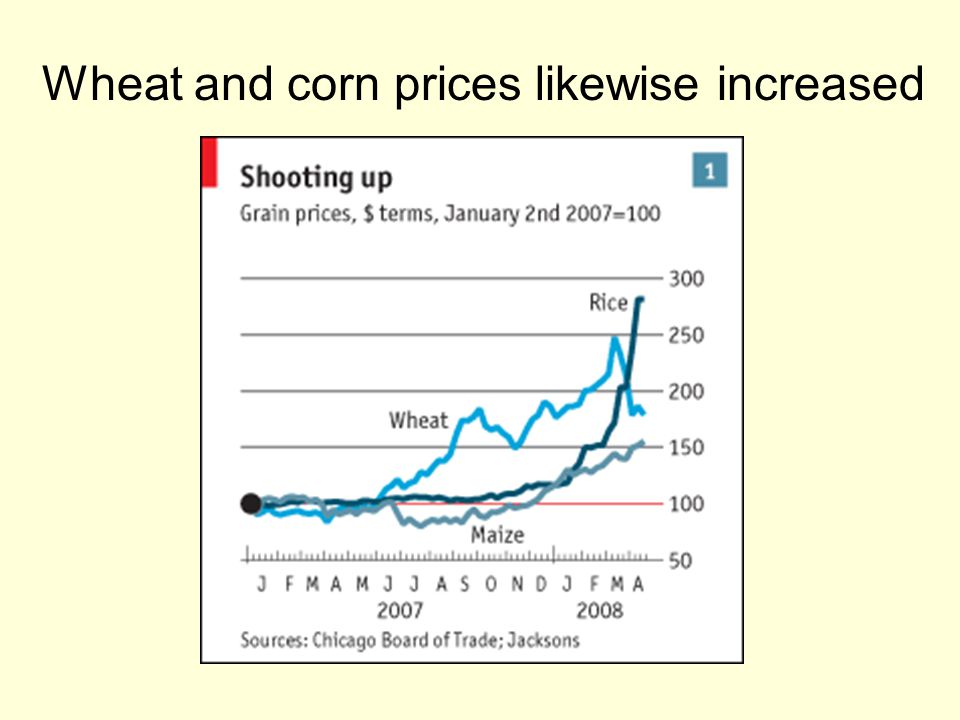Wheat and corn prices likewise increased