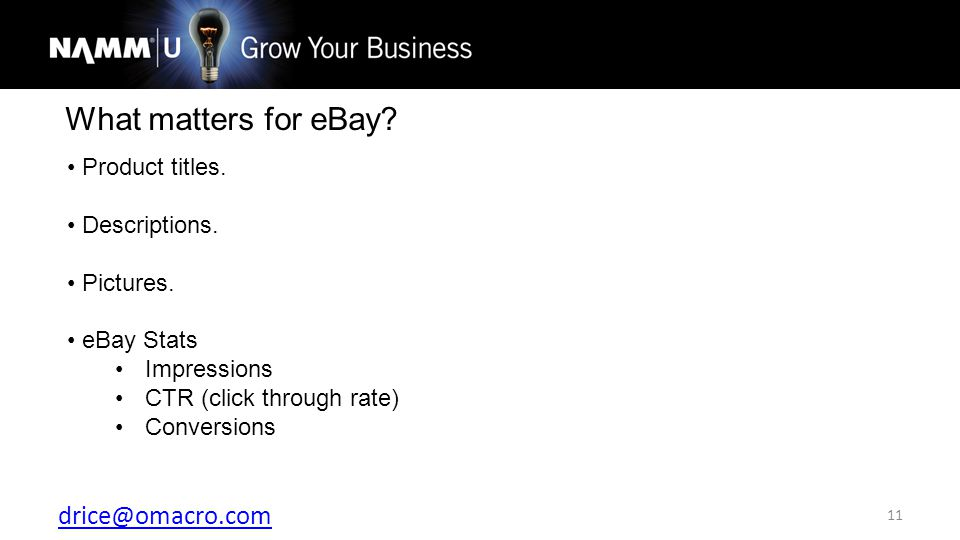 drice@omacro.com 11 What matters for eBay. Product titles.