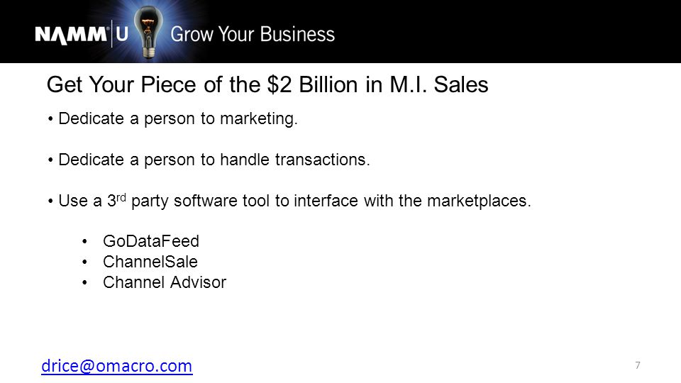 drice@omacro.com 7 Get Your Piece of the $2 Billion in M.I.
