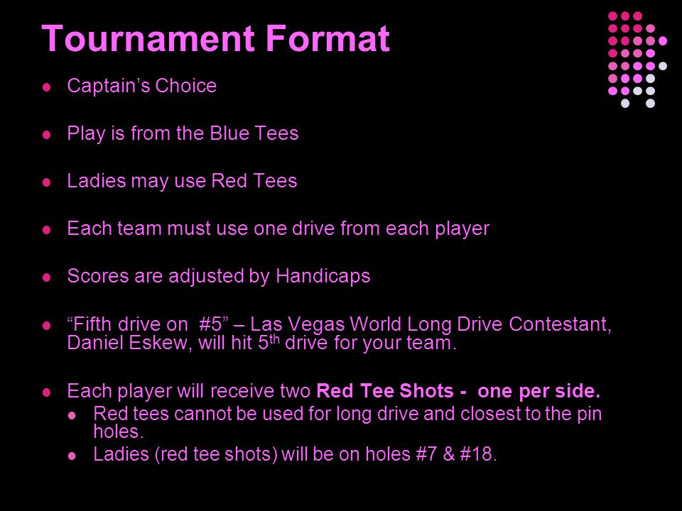 Tournament Format Captain's Choice Play is from the Blue Tees Ladies may use Red Tees Each team must use one drive from each player Scores are adjuste