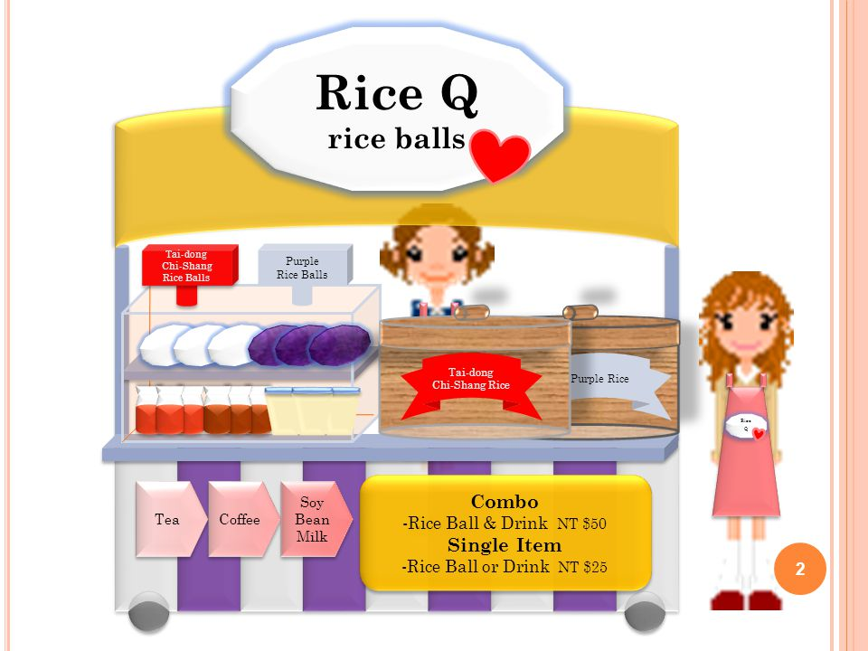 Rice Q rice balls Rice Q rice balls Purple Rice Tai-dong Chi-Shang Rice Tea Coffee Soy Bean Milk Combo -Rice Ball & Drink NT $50 Single Item -Rice Ball or Drink NT $25 Combo -Rice Ball & Drink NT $50 Single Item -Rice Ball or Drink NT $25 Tai-dong Chi-Shang Rice Balls Tai-dong Chi-Shang Rice Balls Purple Rice Balls Rice Q 2