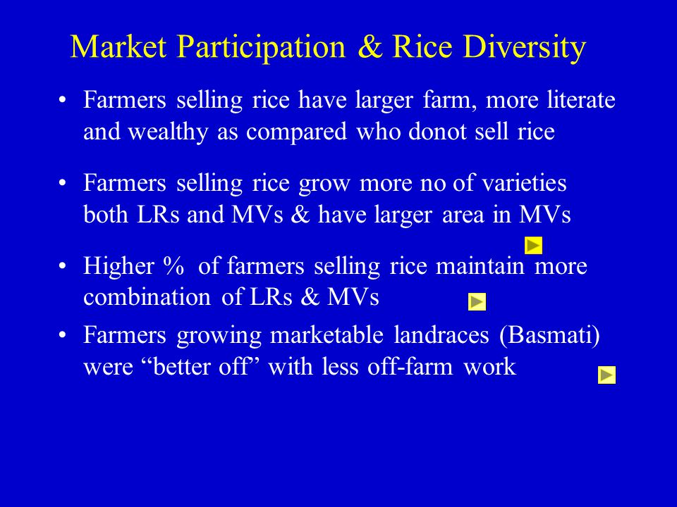 Market Participation & Rice Diversity Farmers selling rice have larger farm, more literate and wealthy as compared who donot sell rice Farmers selling
