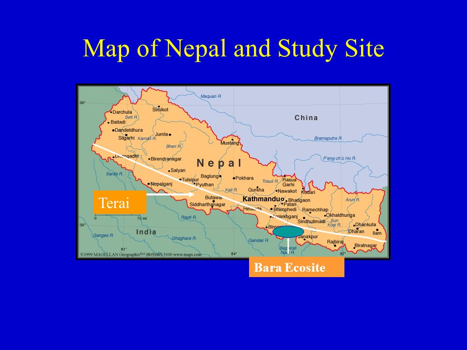 Map of Nepal and Study Site Bara Ecosite Terai