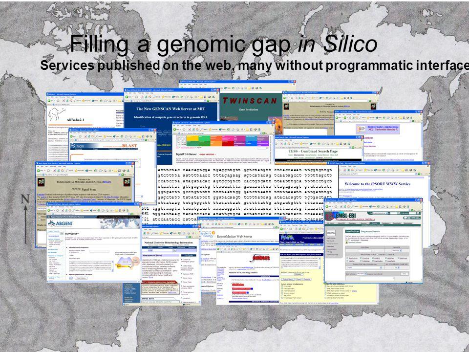Filling a genomic gap in Silico 12181 acatttctac caacagtgga tgaggttgtt ggtctatgtt ctcaccaaat ttggtgttgt 12241 cagtctttta aattttaacc tttagagaag agtcatacag tcaatagcct tttttagctt 12301 gaccatccta atagatacac agtggtgtct cactgtgatt ttaatttgca ttttcctgct 12361 gactaattat gttgagcttg ttaccattta gacaacttca ttagagaagt gtctaatatt 12421 taggtgactt gcctgttttt ttttaattgg gatcttaatt tttttaaatt attgatttgt 12481 aggagctatt tatatattct ggatacaagt tctttatcag atacacagtt tgtgactatt 12541 ttcttataag tctgtggttt ttatattaat gtttttattg atgactgttt tttacaattg 12601 tggttaagta tacatgacat aaaacggatt atcttaacca ttttaaaatg taaaattcga 12661 tggcattaag tacatccaca atattgtgca actatcacca ctatcatact ccaaaagggc 12721 atccaatacc cattaagctg tcactcccca atctcccatt ttcccacccc tgacaatcaa 12781 taacccattt tctgtctcta tggatttgcc tgttctggat attcatatta atagaatcaa Services published on the web, many without programmatic interfaces