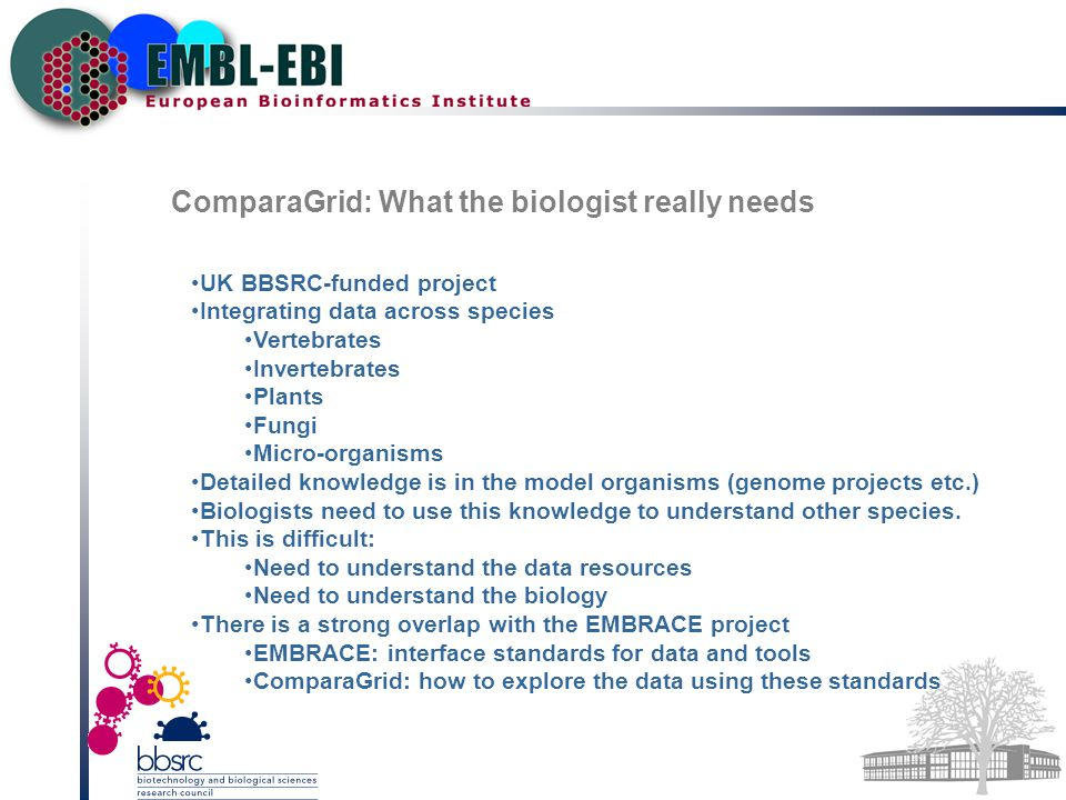 ComparaGrid: What the biologist really needs UK BBSRC-funded project Integrating data across species Vertebrates Invertebrates Plants Fungi Micro-organisms Detailed knowledge is in the model organisms (genome projects etc.) Biologists need to use this knowledge to understand other species.