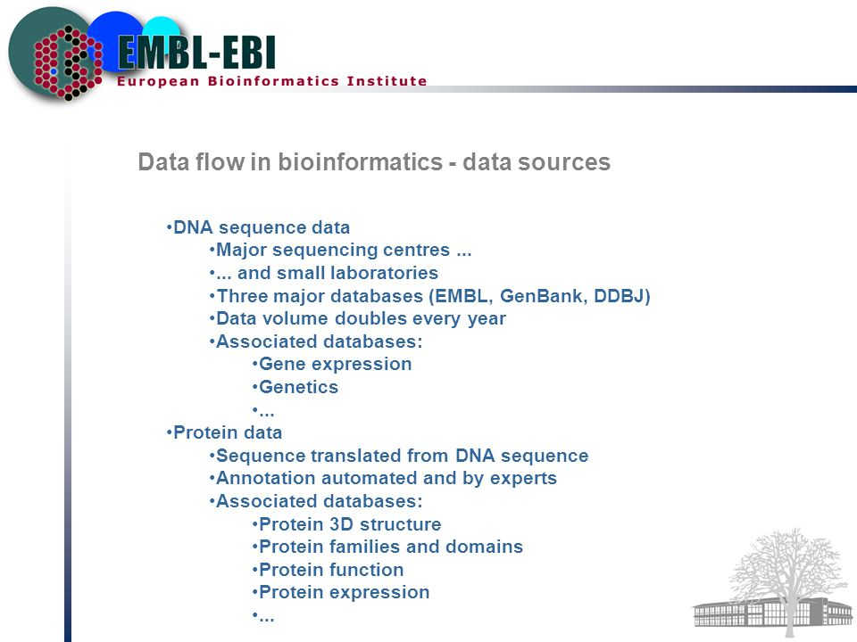 Data flow in bioinformatics - data sources DNA sequence data Major sequencing centres......