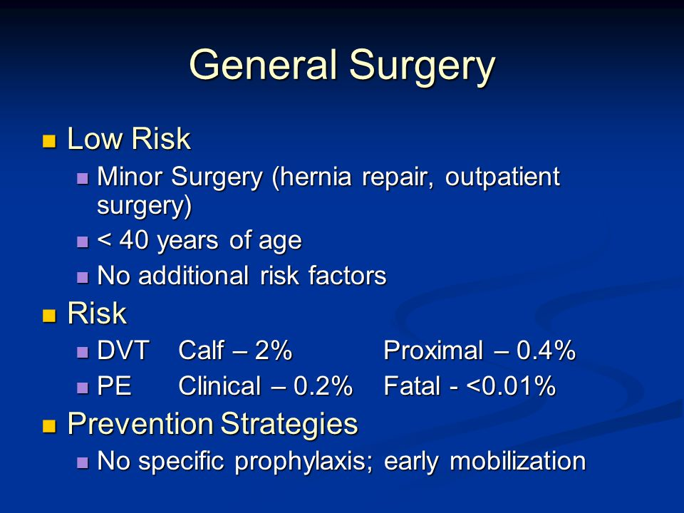 General Surgery Low Risk Low Risk Minor Surgery (hernia repair, outpatient surgery) Minor Surgery (hernia repair, outpatient surgery) < 40 years of age < 40 years of age No additional risk factors No additional risk factors Risk Risk DVT Calf – 2%Proximal – 0.4% DVT Calf – 2%Proximal – 0.4% PEClinical – 0.2%Fatal - <0.01% PEClinical – 0.2%Fatal - <0.01% Prevention Strategies Prevention Strategies No specific prophylaxis; early mobilization No specific prophylaxis; early mobilization