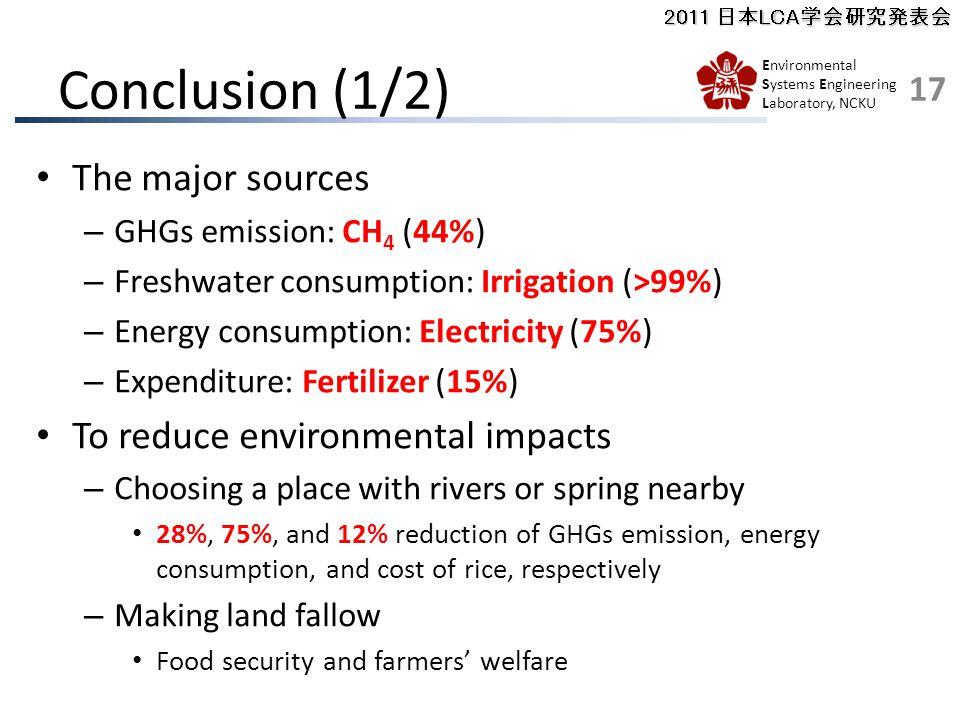 2011 日本LCA学会研究発表会 Environmental Systems Engineering Laboratory, NCKU Conclusion (1/2) The major sources – GHGs emission: CH 4 (44%) – Freshwater consumption: Irrigation (>99%) – Energy consumption: Electricity (75%) – Expenditure: Fertilizer (15%) To reduce environmental impacts – Choosing a place with rivers or spring nearby 28%, 75%, and 12% reduction of GHGs emission, energy consumption, and cost of rice, respectively – Making land fallow Food security and farmers' welfare 17