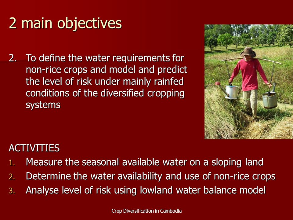 Crop Diversification in Cambodia 2 main objectives 2.To define the water requirements for non-rice crops and model and predict the level of risk under