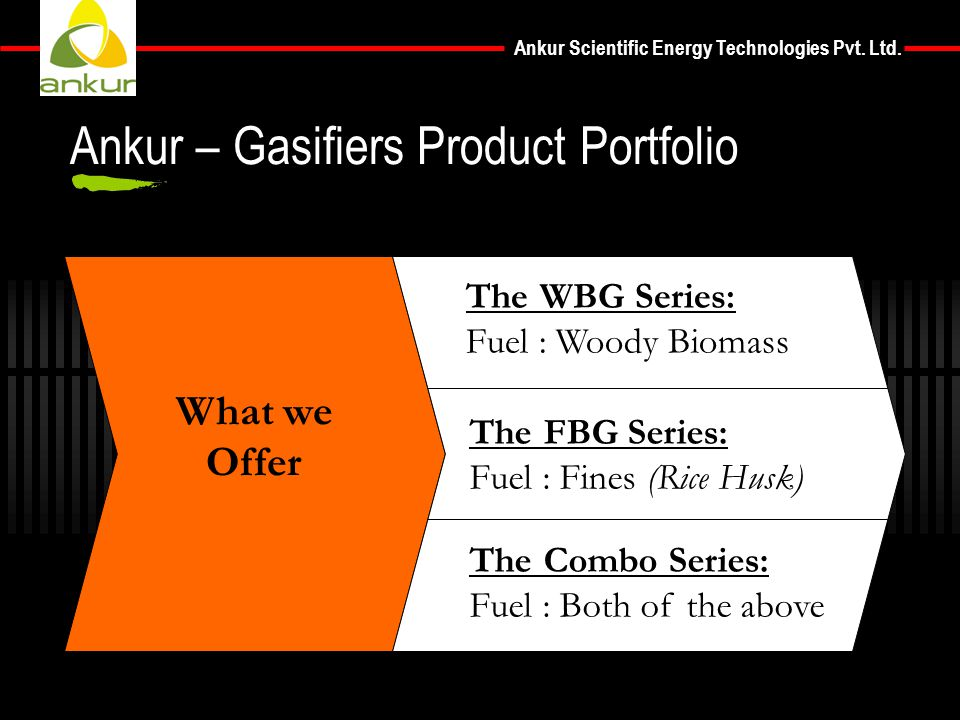 Ankur Scientific Energy Technologies Pvt. Ltd. What we Offer The WBG Series: Fuel : Woody Biomass The FBG Series: Fuel : Fines (Rice Husk) The Combo S