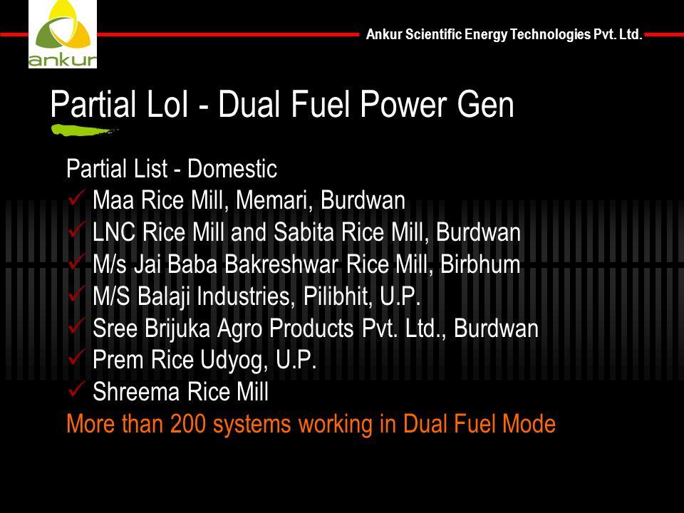 Ankur Scientific Energy Technologies Pvt. Ltd. Partial List - Domestic Maa Rice Mill, Memari, Burdwan LNC Rice Mill and Sabita Rice Mill, Burdwan M/s