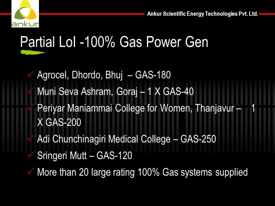 Ankur Scientific Energy Technologies Pvt. Ltd. Agrocel, Dhordo, Bhuj – GAS-180 Muni Seva Ashram, Goraj – 1 X GAS-40 Periyar Maniammai College for Wome
